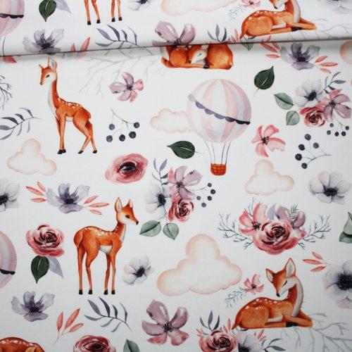Tissu faons montgolfières et fleurs en coton imprimé PREMIUM oeko tex fond blanc